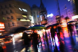 A wet night on Nevsky Prospect.